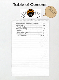Table of Contents for Invertebrate Folder