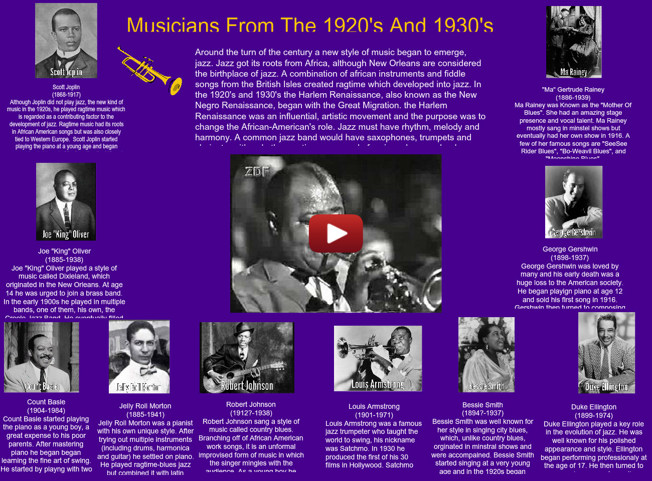 Musicians from the 1920's and 1930's: armstrong, arts