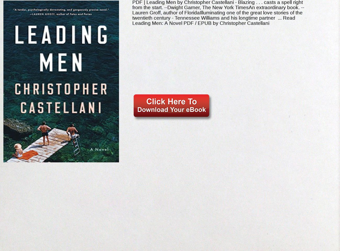 Pdf Leading Men Christopher Castellani A Novel Text Images